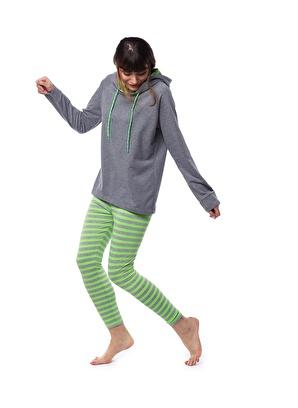 Pamuk & Pamuk Kadın Neon Yeşil Çizgili Tayt Takım W2004 Kadın Neon Yeşil Çizgili Tayt Takı